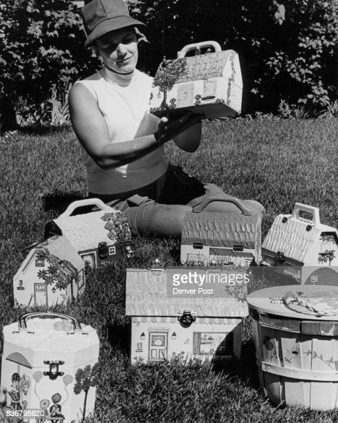 Mrs Theodore P Wischhusen sits among some custom painted bags to be sold Aug 15 at 'The Craft Tree' Credit Denver Post Inc arts crafts decoupage