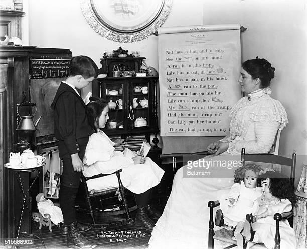 Mrs. Thomas Alva Edison and children. Undated photograph.