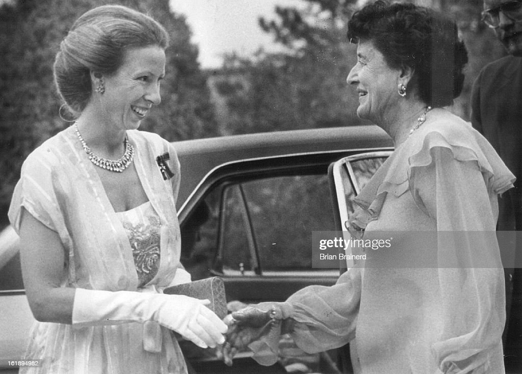 JUN 21 1982; Mrs. Tweet Kimball ***** Princess Anne at the Kimball ranch Saturday.; : News Photo