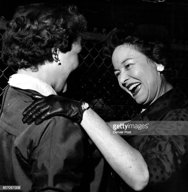 Mrs Van Derbur Is Greeted By Daughter At Stapleton Field Miss Colorado's Mother Mrs Francis Van Derbur Is Welcomed Home From New York By Another...