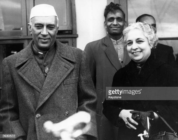 Mrs Vijaya Lakashm Pandit the Indian politician is pictured in London in her capacity as the Indian High Commissioner welcoming Mr Nehru the Indian...
