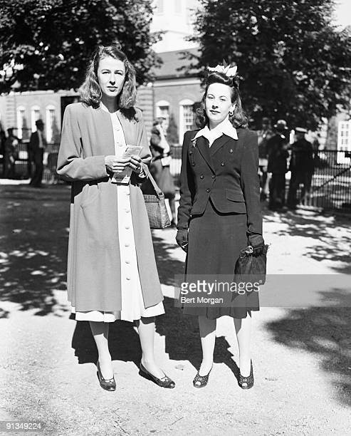 Mrs Vincent Astor and Mis Dorothy Dolly de Milhau at Belmont Park NY September 18 1941
