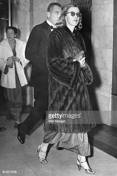 Mrs Vincent Astor formerly Mary Benedict Cushing and known as Minnie wears a fur coat while walking in New York ca1940s