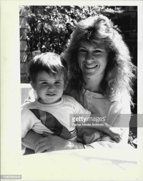 Mrs Viviane O'Sullivan and her son Blake 18 months at their home in Canberra suburb of CookViviane is the wife of Chris who plays with the Canberra...