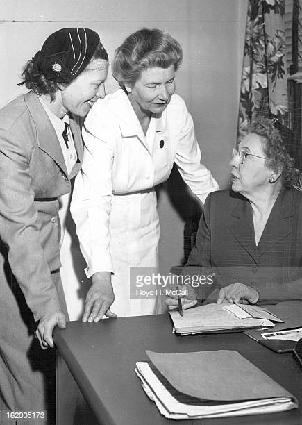 FEB 25 1953 FEB 26 1953 Mrs Walter Frey of Hayden Mrs Alice C Wyse of Wheat Ridge and Mrs Laurette Wyner of 1450 Albion street study plans to recruit...