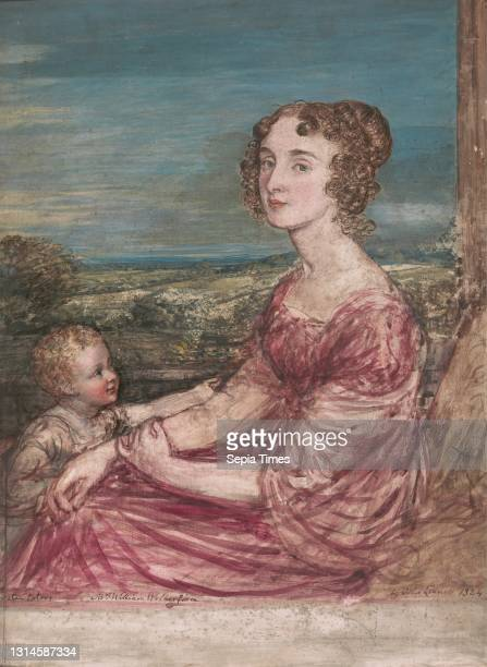 Mrs. William Wilberforce and Child, John Linnell, 1792–1882, British Watercolor, gouache, and graphite on scored gesso ground on panel, Sheet: 14 x...
