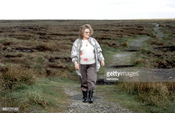Mrs Winifred Johnson mother of missing boy Keith Bennett pictured on Saddleworth Moor 8th June 1994 The Moors murders were carried out by Ian Brady...