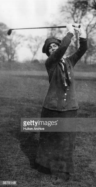 Mrs Winston Churchill playing golf at Ranelagh in a Ladies Parliamentary golf match