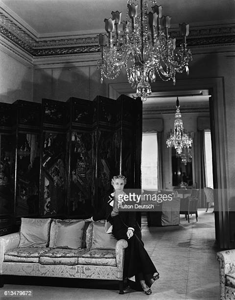 Mrs Winston Churchill the Prime Minister's wife inside one of the drawing rooms at 10 Downing Street Her husband held the office between 1940 and...