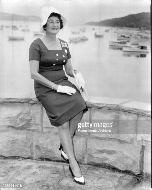 Mrs Wlakley a flag dressMrs Walkley poses at Balgowlah in her new 'Australian flag' dress It's made of sail clothShe is Mrs WGWalkley wife of the...