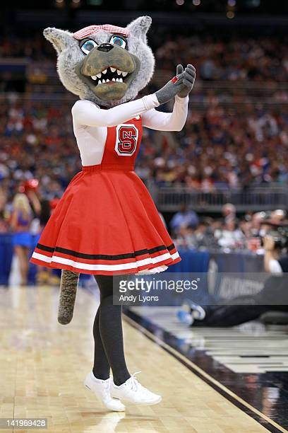 Mrs Wuf mascot for the North Carolina State Wolfpack performs against the Kansas Jayhawks during the 2012 NCAA Men's Basketball Midwest Regional...