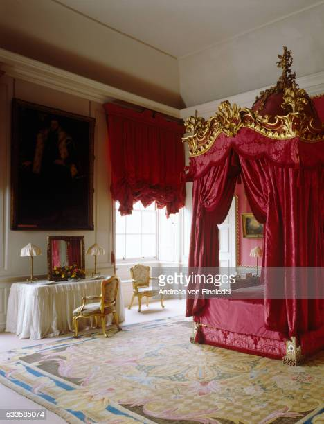 Mrs Wyndham's Bedroom with the State Bed at Petworth House, West Sussex