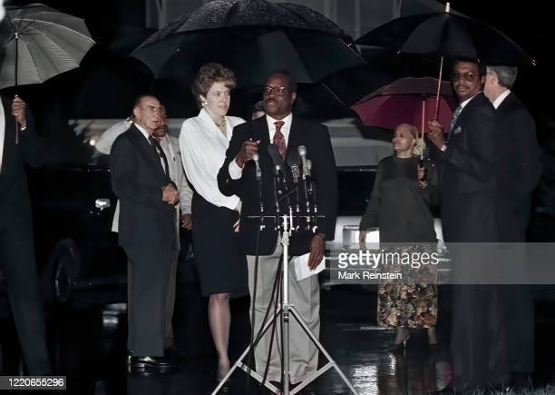 Mrs,Virginia Thomas wife of now Associate Justice of the United States Supreme Court, Clarence Thomas stands behind Thomas at the microphones for a...