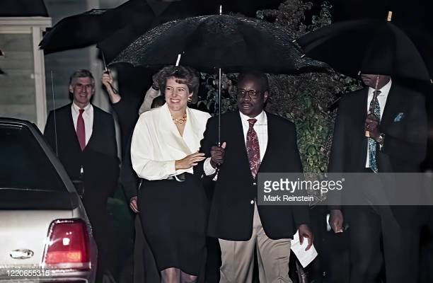 Mrs,Virginia Thomas wife of now Associate Justice of the United States Supreme Court, Clarence Thomas walks with Thomas to the microphones for a...
