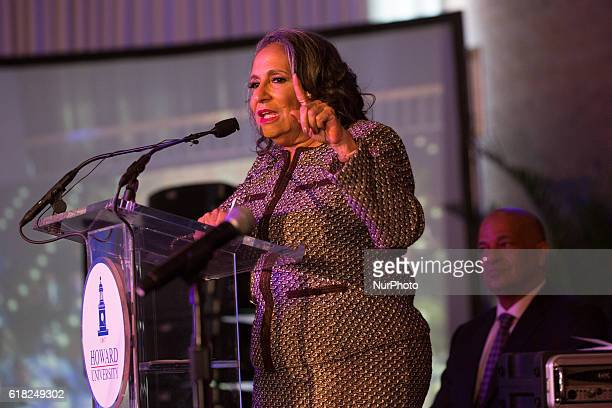 Ms Cathy Hughes speaks in the Blackburn Center Ballroom on the campus of Howard University in Washington DC USA on 25 October 2016 during a...