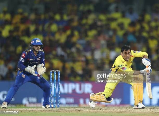 Ms Dhoni of the Chennai Super Kings bats during the India Premier League IPL Qualifier Final match between the Mumbai Indians and the Chennai Super...
