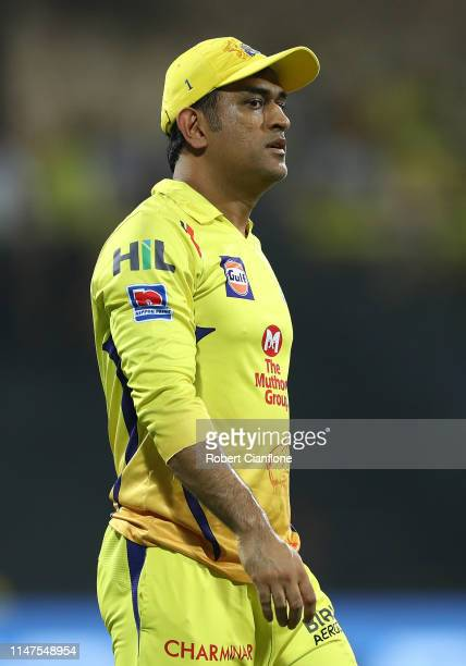 Ms Dhoni of the Chennai Super Kings looks on prior to the India Premier League IPL Qualifier Final match between the Mumbai Indians and the Chennai...
