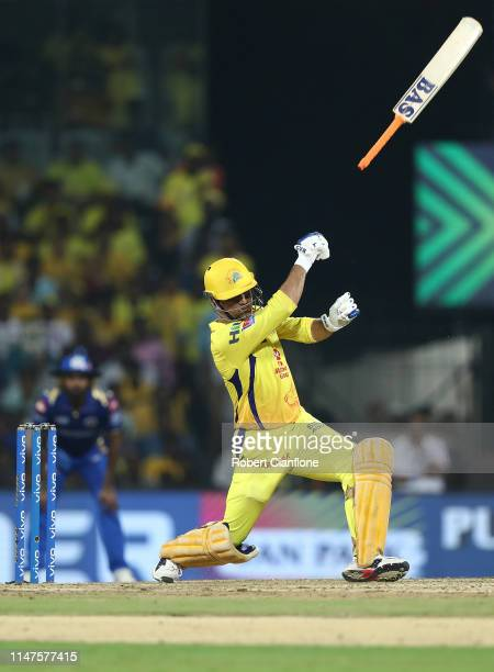 Ms Dhoni of the Chennai Super Kings loses grip on his bat during the India Premier League IPL Qualifier Final match between the Mumbai Indians and...