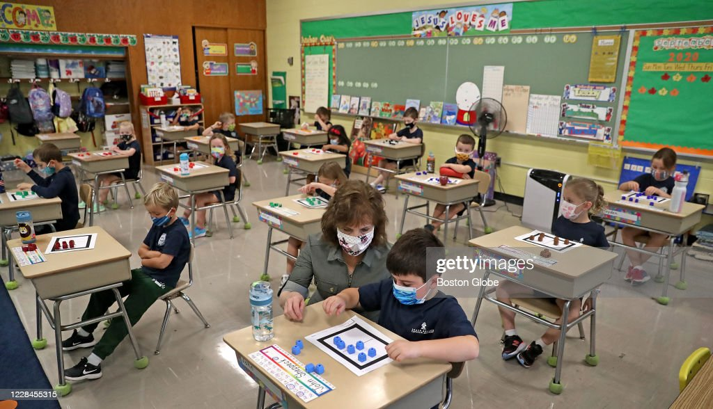 Students Return To Classrooms at Boston Catholic Schools : News Photo