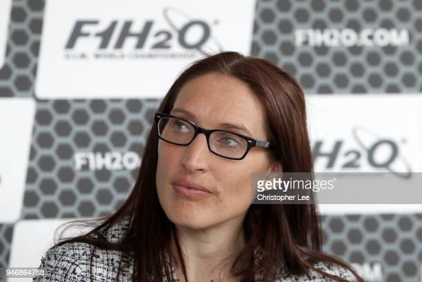 Ms Jules Chappell OBE Managing Director Business at London Partner speaks to the media during a press conference during the UIM F1H2O Grand Prix Of...