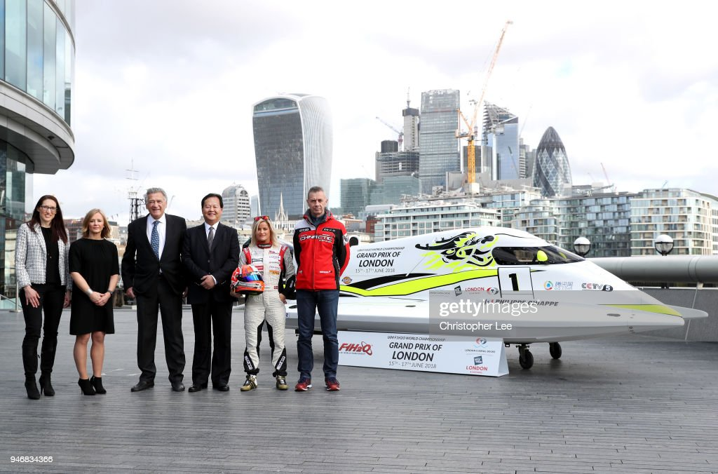Ms. Jules Chappell OBE, Managing Director, Business at London & Partners, Joanna Jones, Commerical Director at London Tech Week, Nicolo di San Germano, President of H2O Racing, Mr. Li Haojie, Chairman of Tian Rong Sports, Marit Stromoy, Professional powerboat driver and Philippe Chiappe, Professional powerboat driver pose for a photo with the CTIC F1 Shenzhen China boat infront of the London Skyline during the UIM F1H2O Grand Prix Of London Launch in London on April 16, 2018 in London, England.