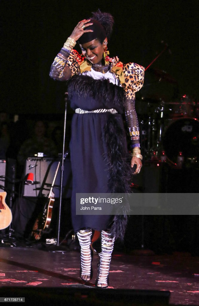 Ms. Lauryn Hill performs at Kaya Fest at Bayfront Park Amphitheater on April 22, 2017 in Miami, Florida.