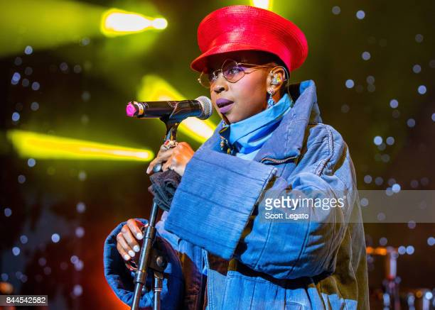 Ms Lauryn Hill performs in support of the Powernomics Tour at Michigan Lottery Amphitheatre on September 8 2017 in Sterling Heights Michigan