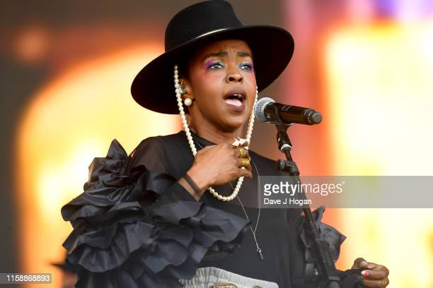 Ms Lauryn Hill performs on the Pyramid stage during day three of Glastonbury Festival at Worthy Farm, Pilton on June 28, 2019 in Glastonbury, England.