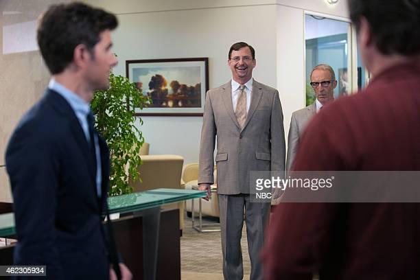 RECREATION 'Ms LudgateDwyer Goes to Washington' Episode 709 Pictured Adam Scott as Ben Wyatt John Balma as Barney Bob Bancroft as Frank