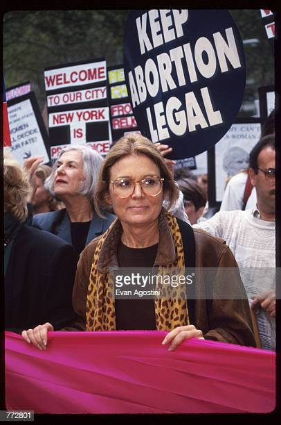 'Ms' magazine founder Gloria Steinem marches at the Women's Rights rally October 7 1995 in New York City The rally protested the arrival of Pope John...