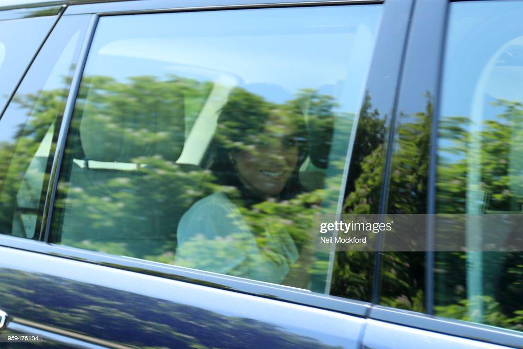 Ms. Meghan Markle arrives at Windsor Castle on May 17, 2018 in Windsor, England.