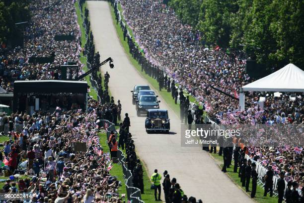 Ms. Meghan Markle's car makes it's way down The Long Walk during the wedding of Prince Harry Harry to Ms. Meghan Markle at Cambridge Gate on May 19,...