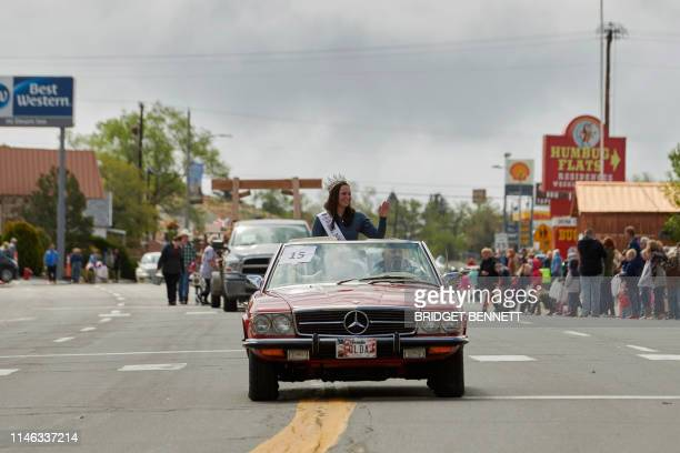 Ms. Nevada State Katie Williams waves from a car during a parade in Tonopah, during Jim Butler Days, founder of Tonopah where they celebrate the...