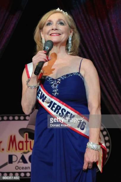 Ms NJ Senior America Diane DeLuca sings the National Anthem at The Mr Mature America Pageant held at Ocean City Music Pier on April 8 2017 in Ocean...