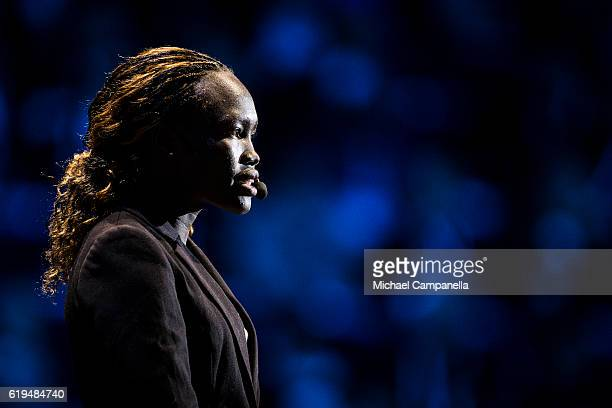 Ms Rose Lokonyen gives a speech during the 'Together in Hope' event at Malmo Arena on October 31, 2016 in Malmo, Sweden. The Pope is on 2 days visit...