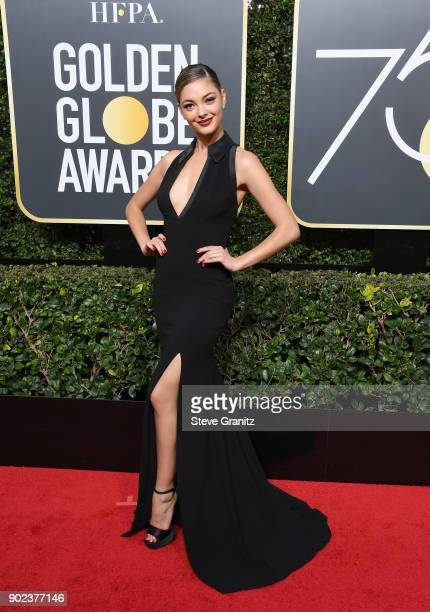 Ms Universe 2017 Demi-Leigh Nel-Peters attends The 75th Annual Golden Globe Awards at The Beverly Hilton Hotel on January 7, 2018 in Beverly Hills,...