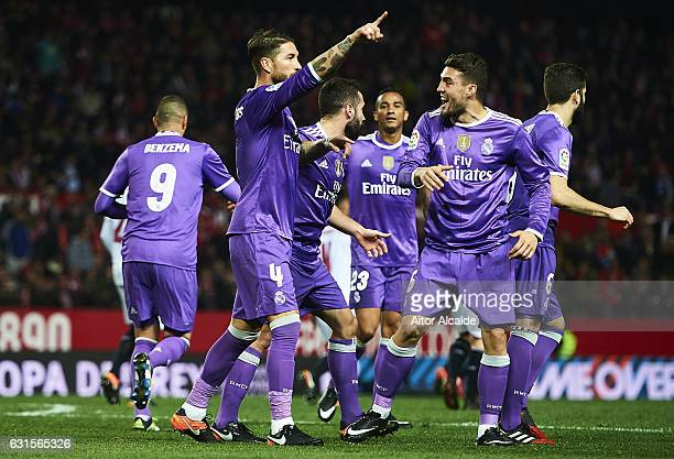 MSergio Ramos of Real Madrid CF celebrates after scoring the second goal of Real Madrid CF with his team mates during the Copa del Rey Round of 16...