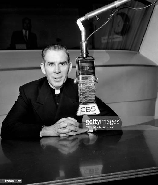 Msgr Fulton J Sheen Catholic priest at CBS Radio microphone September 28 1951