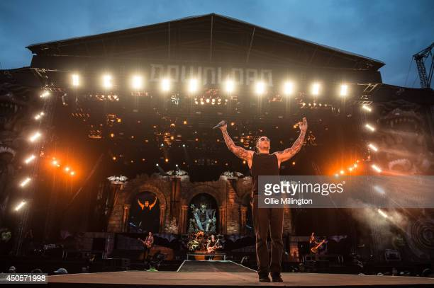 Shadows of Avenged Sevenfold performs headlinging on stage at day 1 of Download Festival at Donnington Park on June 13 2014 in Donnington United...