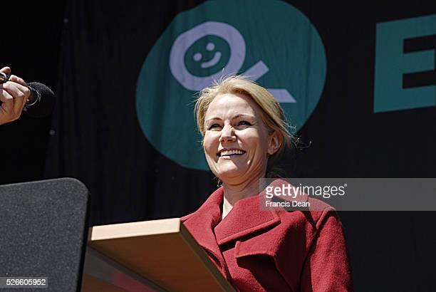 Ms.Helle Thorbing-Schmidt Danish prime minister holds her 1st may speech in Faelledparken social democrat came to listen her speech anbd for left...