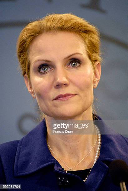 Ms.Helle Thorning-Schmdit new danish prime minister holds her first solo press conference at Mirror Hall prime minister office building at...