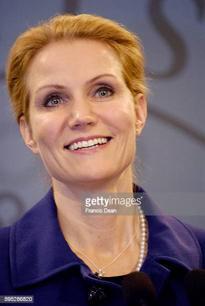 MsHelle ThorningSchmdit new danish prime minister holds her first solo press conference at Mirror Hall prime minister office building at...