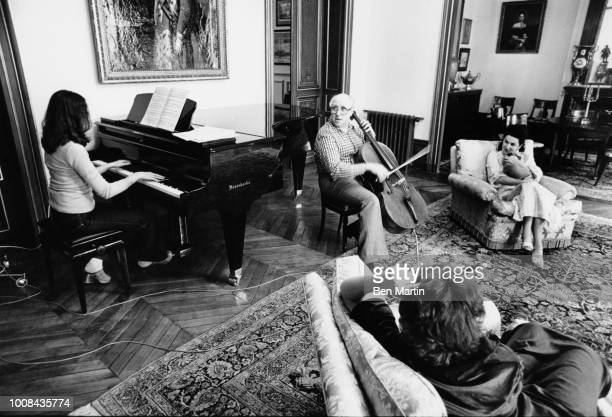 Mstislav Rostropovich And wife soprano Galina Vishnevskaya At Home In Paris with two musician daughters Olga and Elena