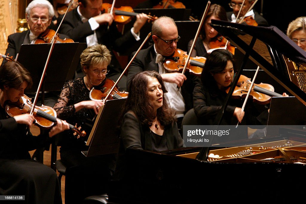 Mstislav Rostropovich conducting New York Philharmonic on Wednesday night, April 27, 2005.This image:Martha Argerich performing Prokofiev's 'Piano Concerto in D-flat Major' with NY Philharmonic.