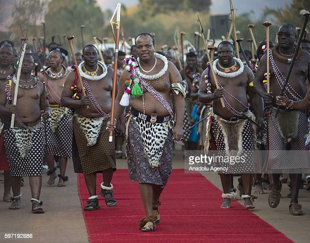Mswati III attends a traditional ceremony Umhlanga Festival at Ludzidzini Royal Village in Lobamba Swaziland on August 28 2016 Umhlanga also known as...