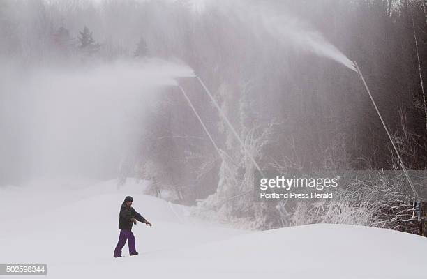 Mt Abram GM Dave Scanlan monitors the snowmaking on the mountains west side slopes where some new snowmaking guns which uses only water pressure are...