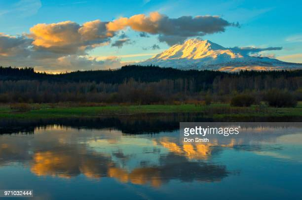 mt. adams reflecting in trout lake - don smith stock pictures, royalty-free photos & images