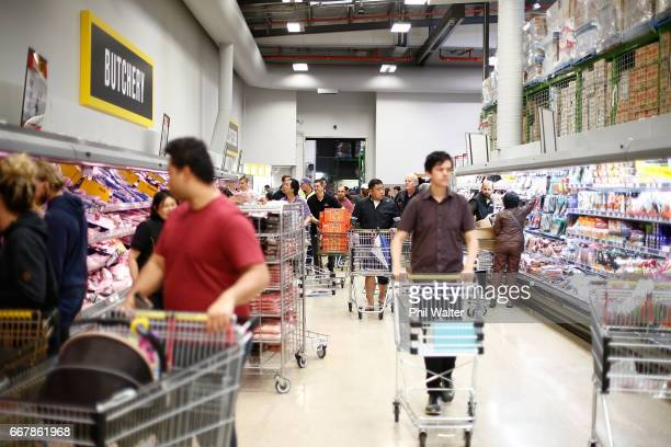 Mt Albert PaknSave is busy for the Easter shopping rush and before Cyclone Cook is due to reach landfall on April 14 2017 in Auckland New Zealand...