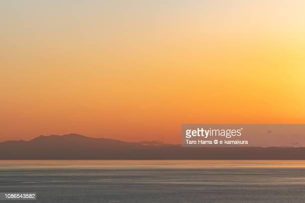 Mt. Amagi, Izu Peninsula and Sagami Bay, Pacific Ocean in Japan in the sunset