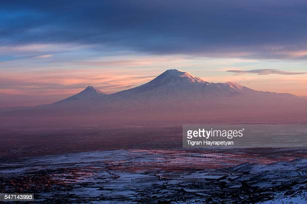 mt ararat at sunset - armenia stock pictures, royalty-free photos & images